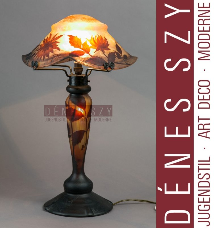 DAUM NANCY 1900 FRENCH Art Nouveau Tischlampe Chrysanthemen