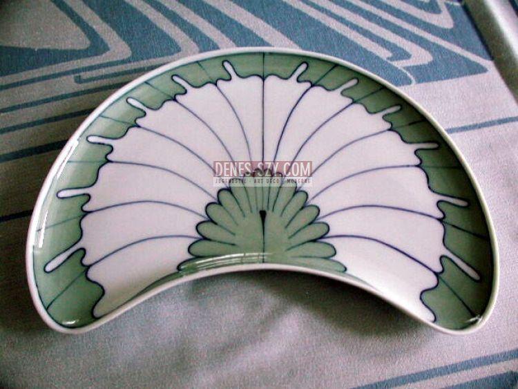 Meissener Jugendstil Porzellan, Flügelmuster, Halbmondschale