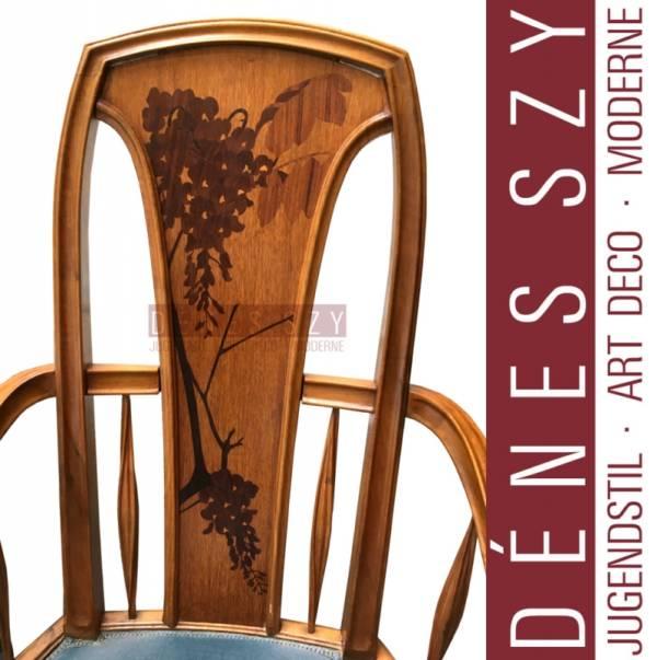 Louis Majorelle, Art Nouveau marquetry armchair with Swans heads