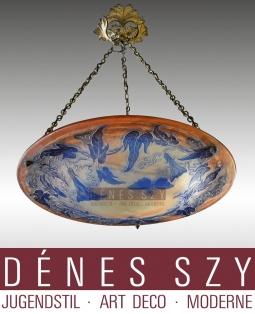 Emile Galle Nancy 1900 Jugendstil pate de verre Deckenlampe XXL