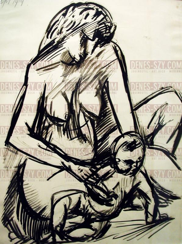 Max PECHSTEIN, Tuschzeichnung Mutter mit Kind