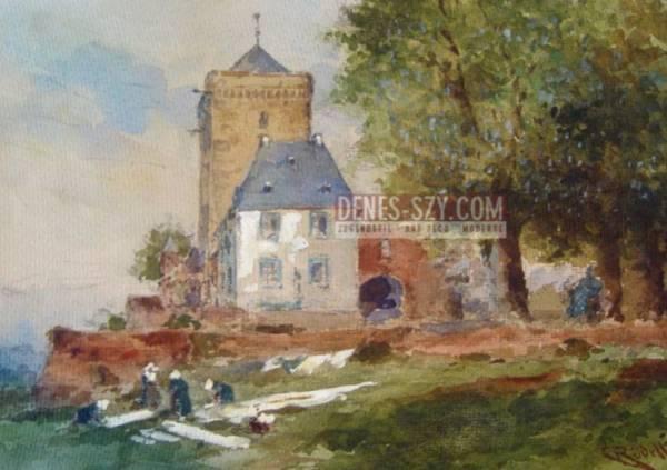 Carl Ruedell Waeschebleichende Frauen in Zons am Rhein