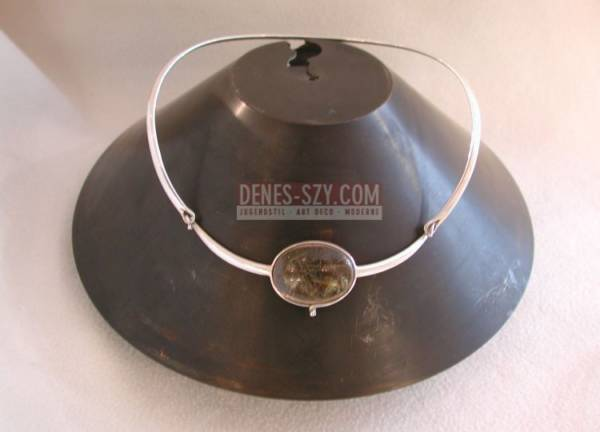 Torun, Georg Jensen silver Jewelry, neck ring, smoke quartz drop Copenhagen 1974