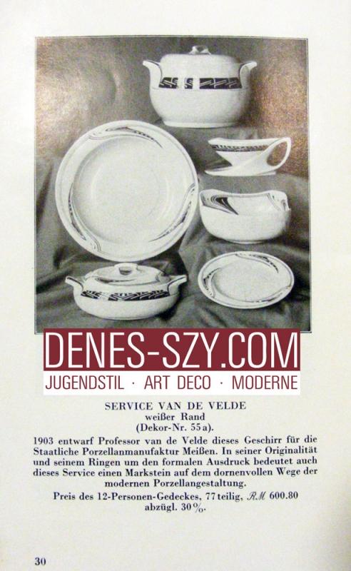 Henry van de Velde, Art Nouveau porcelaine de Meissen, motif 'fouet'
