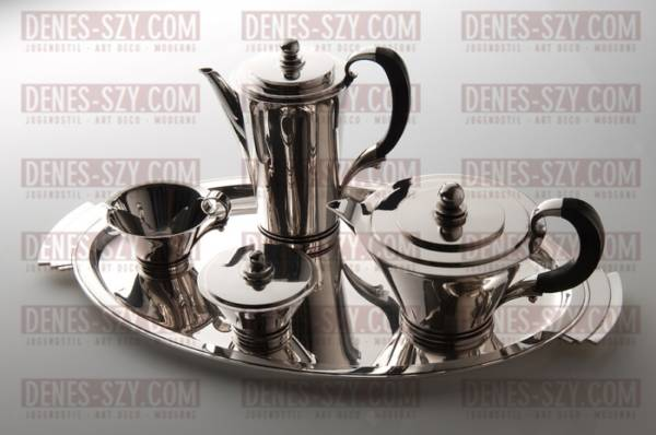Georg Jensen silver, Pyramid pattern large tea coffee set with tray
