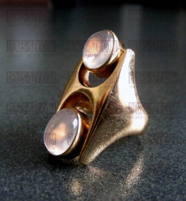 Georg Jensen Gold Ring # 845 mit Mondsteincaboschons