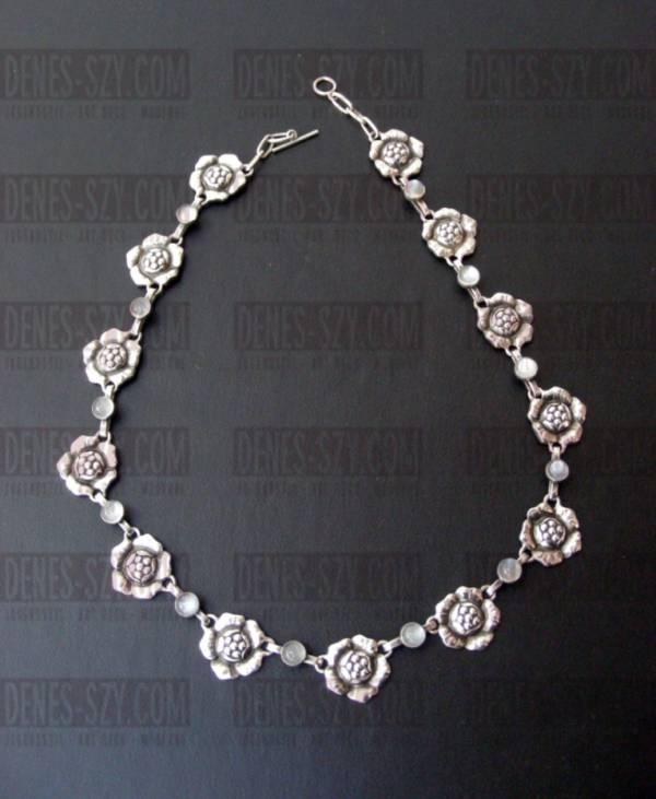 Georg Jensen Halskette mit Mondsteinen # 5, Silber 830