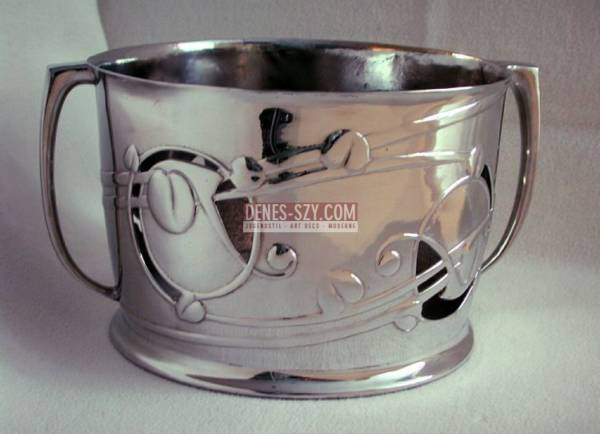 Arts and Crafts TUDRIC pewter flower pot by Archibald Knox