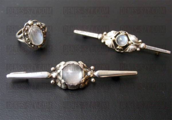 Georg Jensen jewelry danish silver moonstone brooch 117