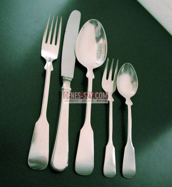 Robbe & Berking Silver 800 table cutlery for 12 persons, 60 pieces, model SPATEN, Execution: Silver manufacturer Robbe & Berking Flensburg, Germany
