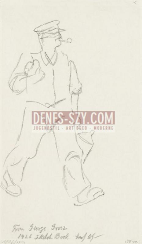 George Grosz, Yellow Cardigan 1926, pencil drawing