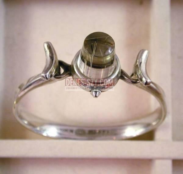Torun, Georg Jensen silver Jewelry, wrist watch 231, rutilated Quartz