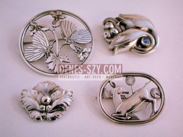 Georg Jensen Sterling silver brooch #283 with butterflies and blossoms