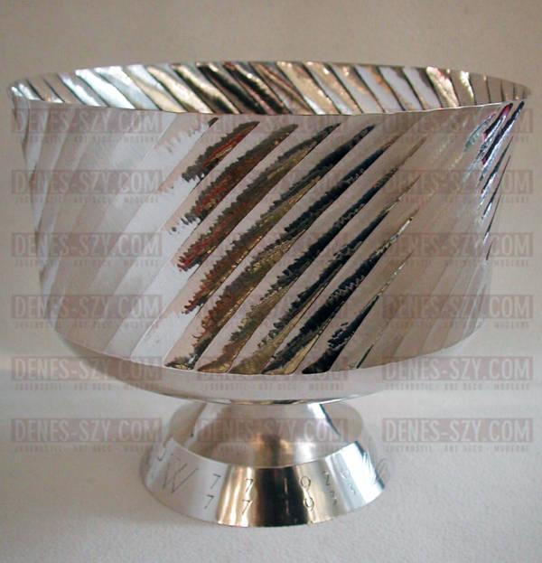 grande coppa con piede di Emil Lettre, Germania, argento, Art Deco