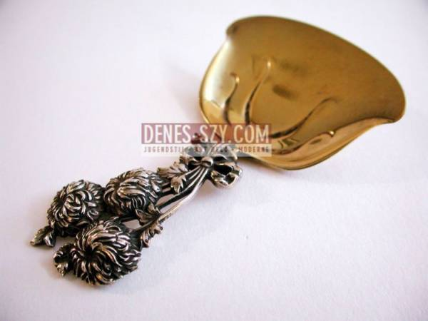 TIFFANY makers, Art Nouveau, Holly pattern, Sterling caddy spoon