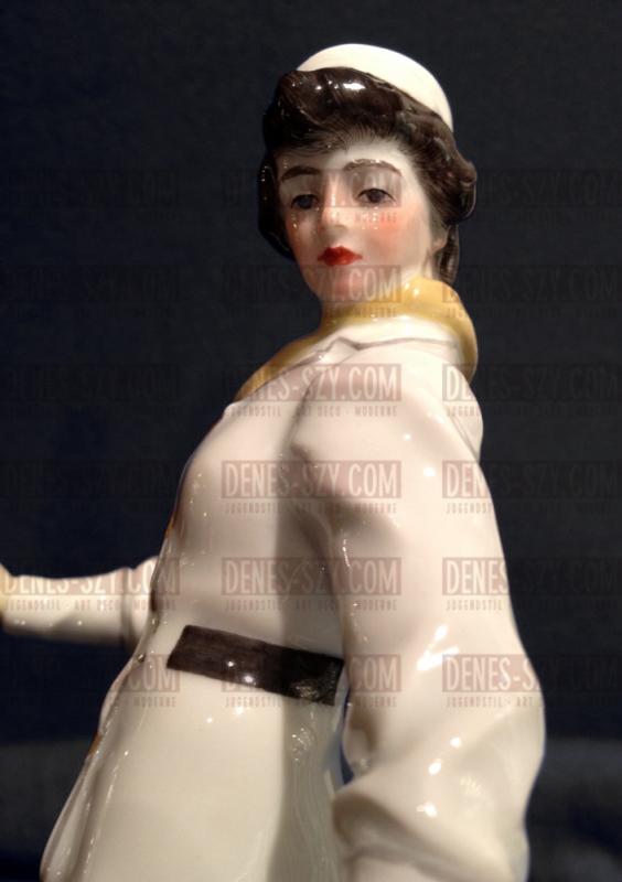 Meissen Jugendstil Porzellan Figur Schlittschulaeuferin