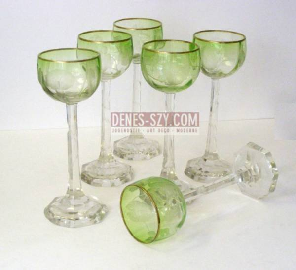 Moser Karlsbad bicchiere da vino in stile liberty 1900 circa